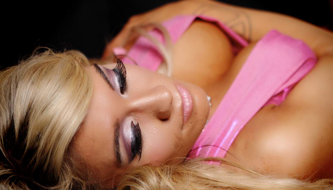 Closeup shot of Penthouse girl laying down photo