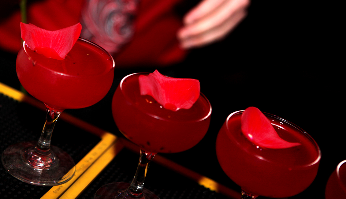 Drinks With Rose Petals Photo, Nightlife Baton Rouge, LA - The Penthouse Club