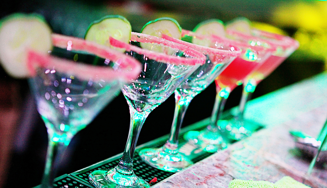 Glasses Lined Up On Bar At Night Clubs Photo, Baton Rouge, LA - The Penthouse Club