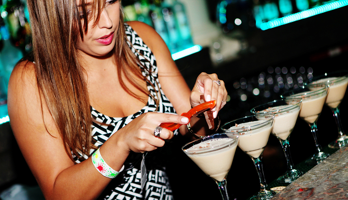 Bartender Shaving Chocolate Image, Night Clubs, Baton Rouge, LA - The Penthouse Club