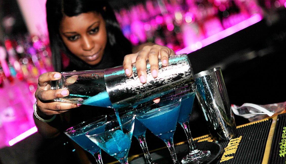 Pouring Blue Mixed Drinks, Nightlife, Baton Rouge, LA Image - The Penthouse Club