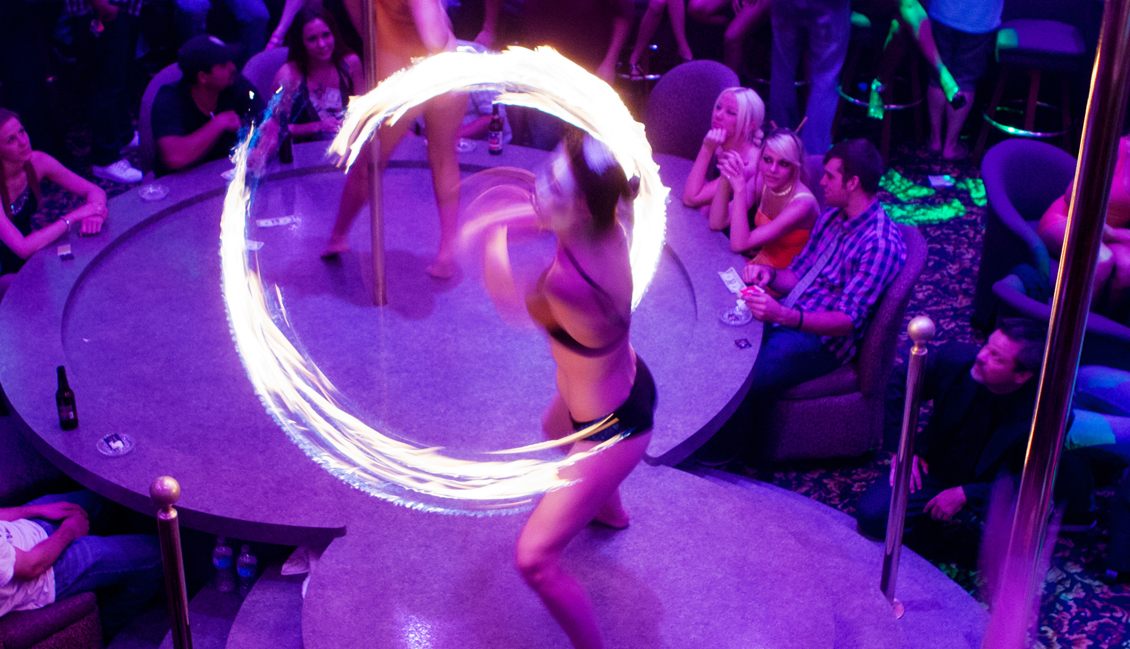 Baton Rouge Strippers Twirling Fire Stick Photo - The Penthouse Club