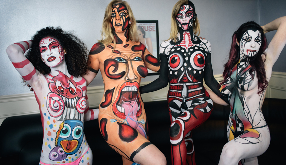 Photo Of Four Strippers With Surrealist Body Paint, Nightlife, Baton Rouge, LA - The Penthouse Club